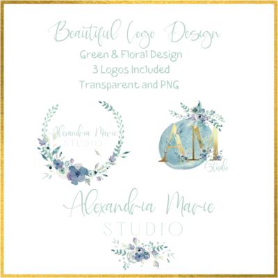 Photography Logo Green & Floral Design