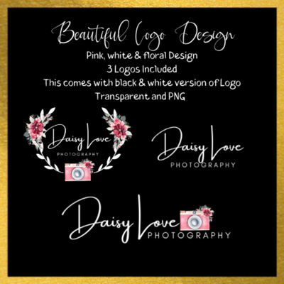 Photography Logo Pink, white & Floral Design