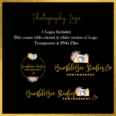 Photography Logo White, Yellow, & floral