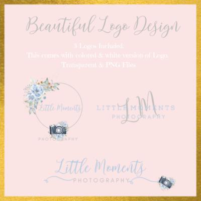 Photography Logo blue & floral