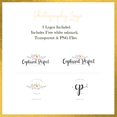 Photography Logo watercolor floral