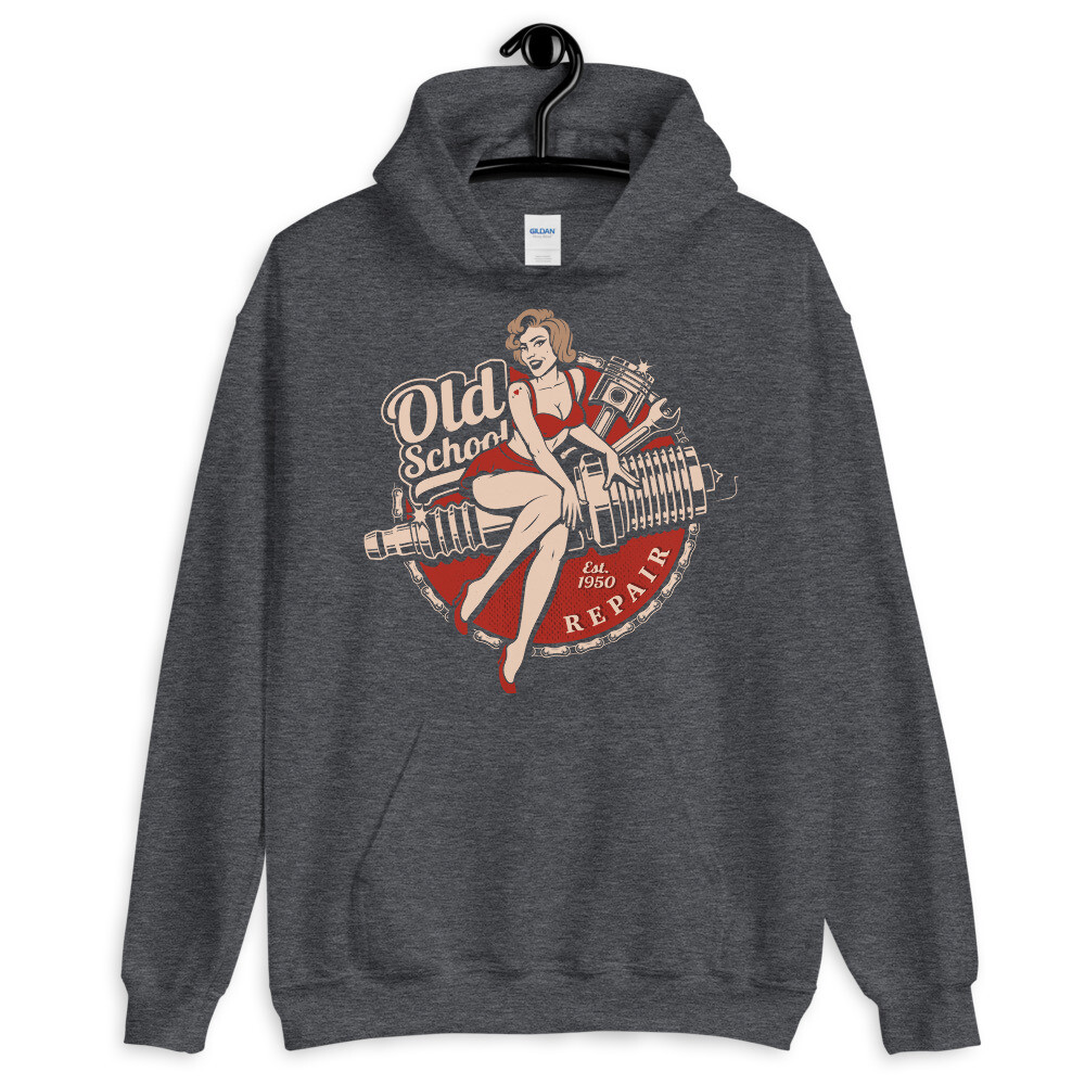 Retro Old School Motorcycle Repair Shop Hoodie