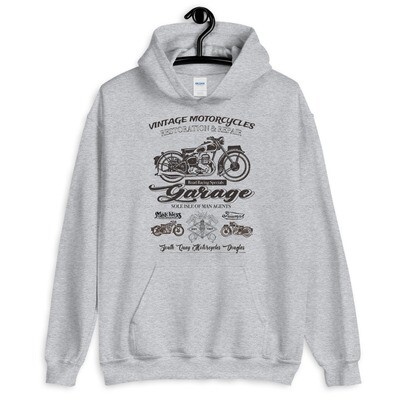 Vintage Manx Motorcycle Repair Garage Hoodie