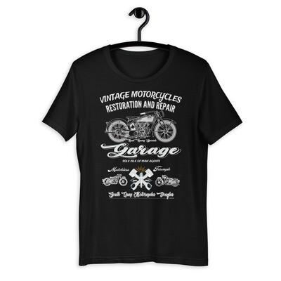 Dark Vintage Manx Motorcycle Repair Garage T-Shirt