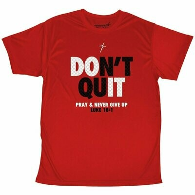 Youth Performance Wear T-Shirt Don't Quit Never Give Up Red - FREE Shipping