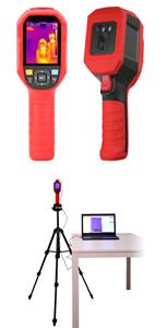 PORT-160T05: Telecamera portatile per il rilevamento della temperatura corporea (precisione di ± 0,5ºC ad 1 mt di distanza) con visualizzazione del dato sul display integrato e da monitor esterno