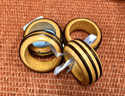 Striped Wooden Napkin Rings
