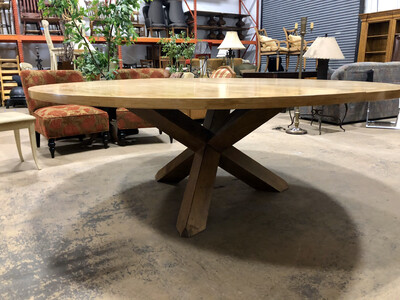 Large Round Table with Geometric Base