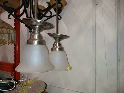 Stainless with Glass Shade Pendent Light