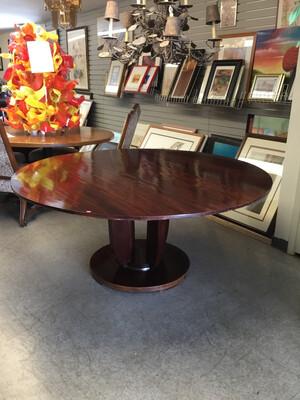 Barbara Barry for Baker Dark Mahogany Round Pedestal Dining Table
