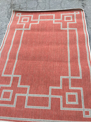 Red and Cream Outdoor Rug