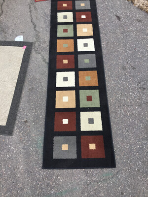 Black and Multicolored Squares Runner