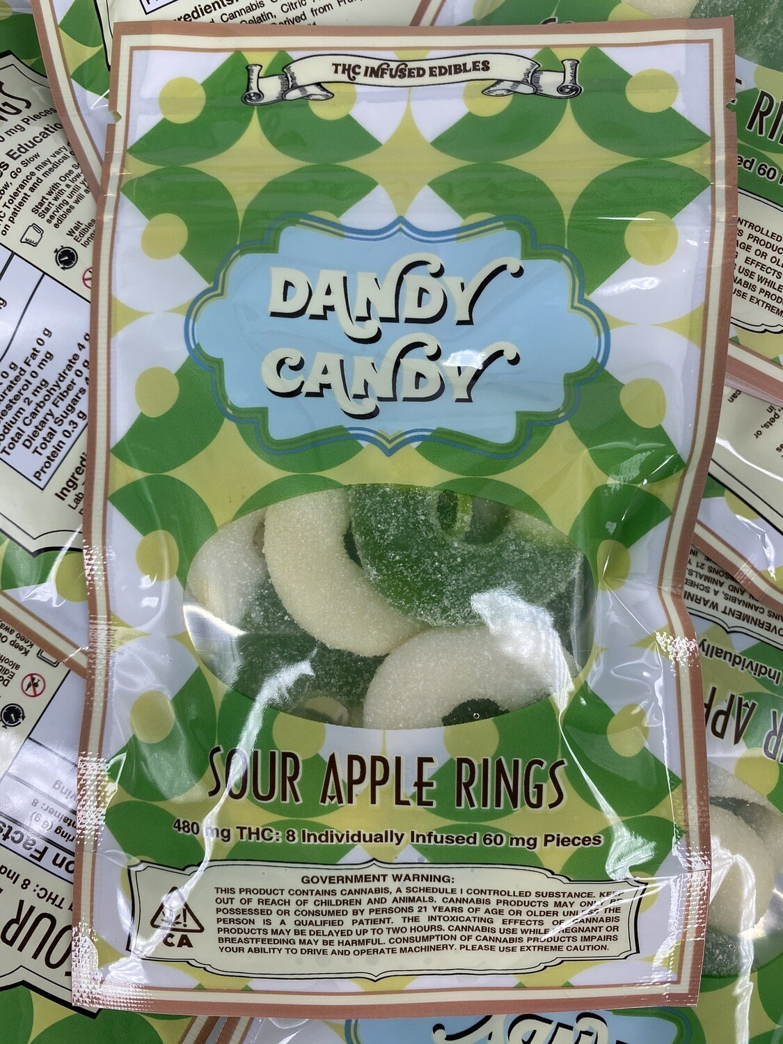 Dandy Candy Sour Apple Rings (480MG)