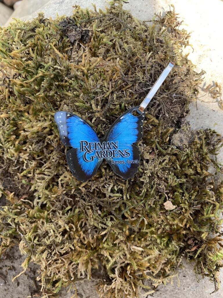 *Reiman Gardens blue morpho butterfly zipper pull