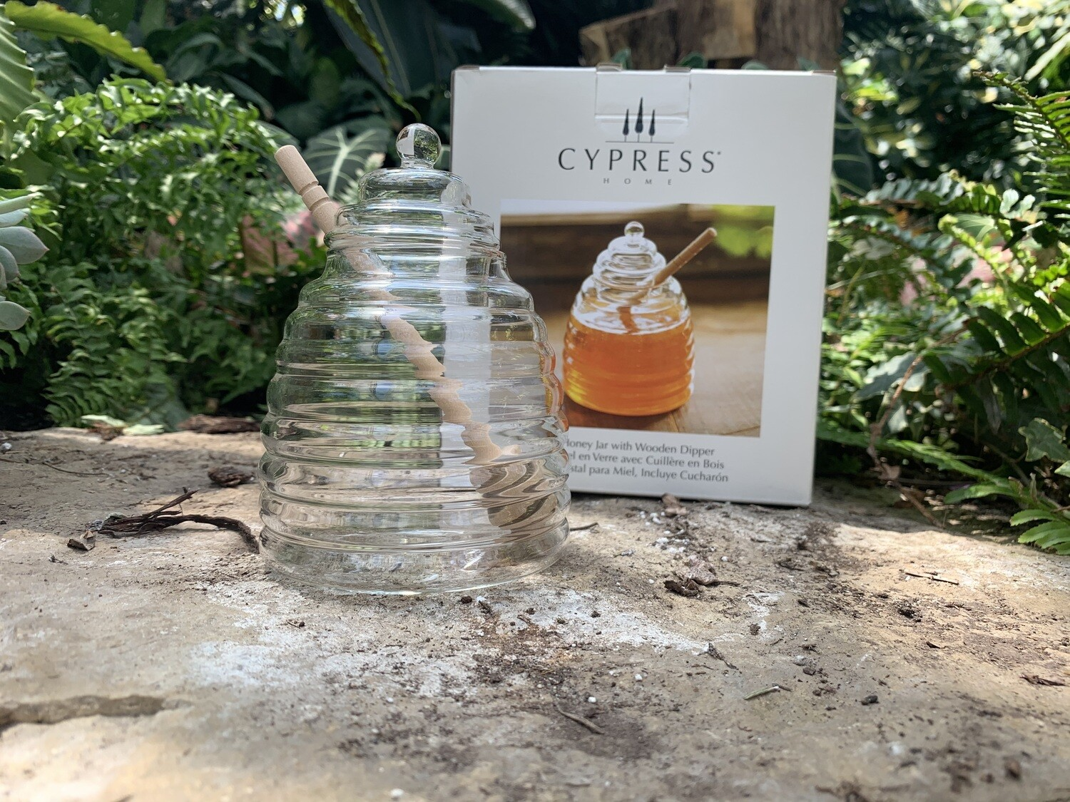 *Glass Honey Skep Jar with Drizzle Stick