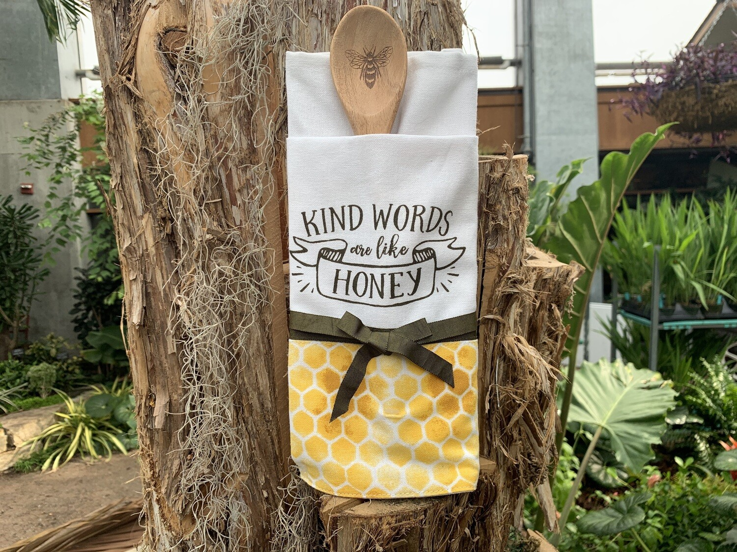 """*""""Kind Words are like Honey"""" Tea Towel with Wooden Spoon"""