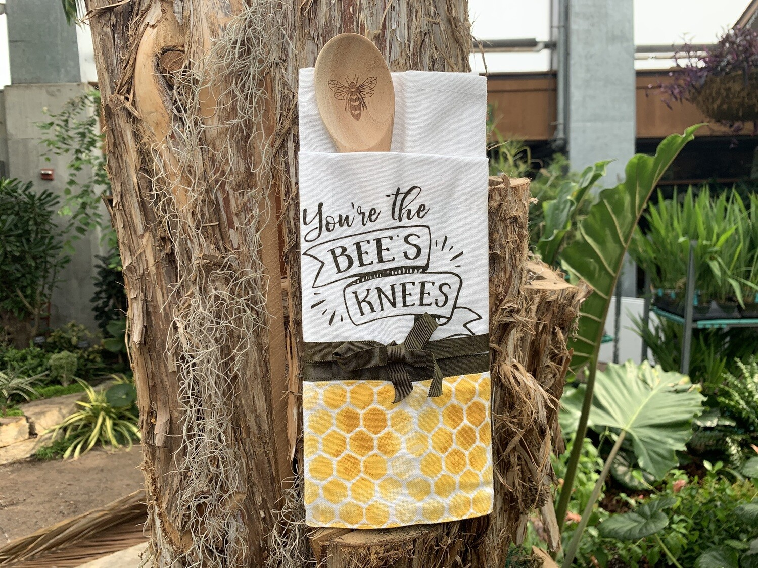 "*""You're the Bee's Knees"" Tea Towel with Wooden Spoon"
