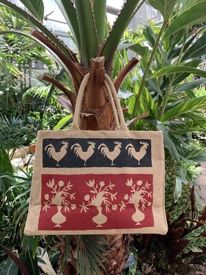 *Jute Tote Rooster Design