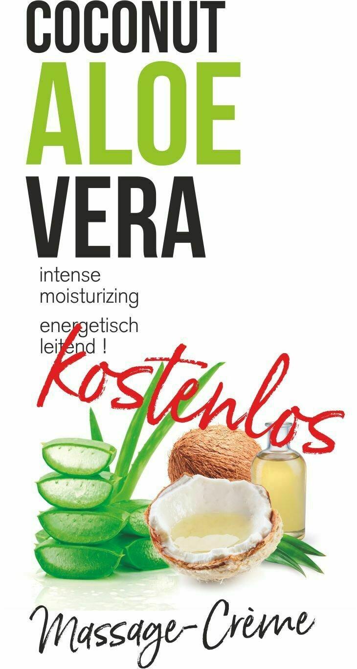 Massagecrème BIO-Kokosnuss Aloe Vera, unparfumiert, kostenlose Probetube