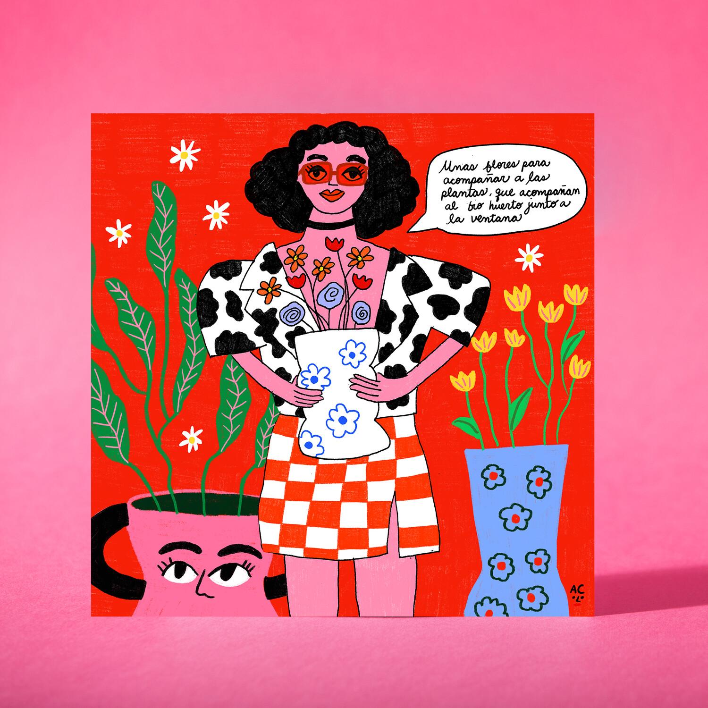 """Art print """"Unas flores para acompañar las plantas"""""""