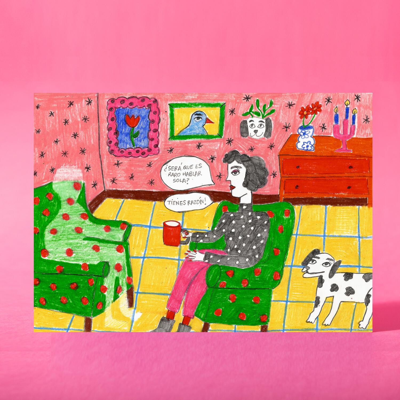"Art print ""Hablando sola"""