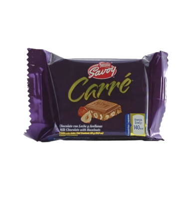 SAVOY CARRE MINI CHOCOLATE CON LECHE/AVELLANA 25 GR.