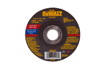 DEWALT DISCO DELG.CORTE METAL ACERO INOX 4-1/2X1/16X7/8 REF-DW44601-4