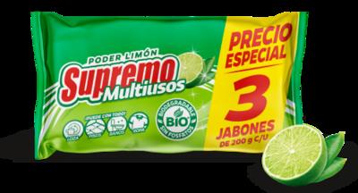SUPREMO JABON MULTIUSOS LIMON BARRA 200GR