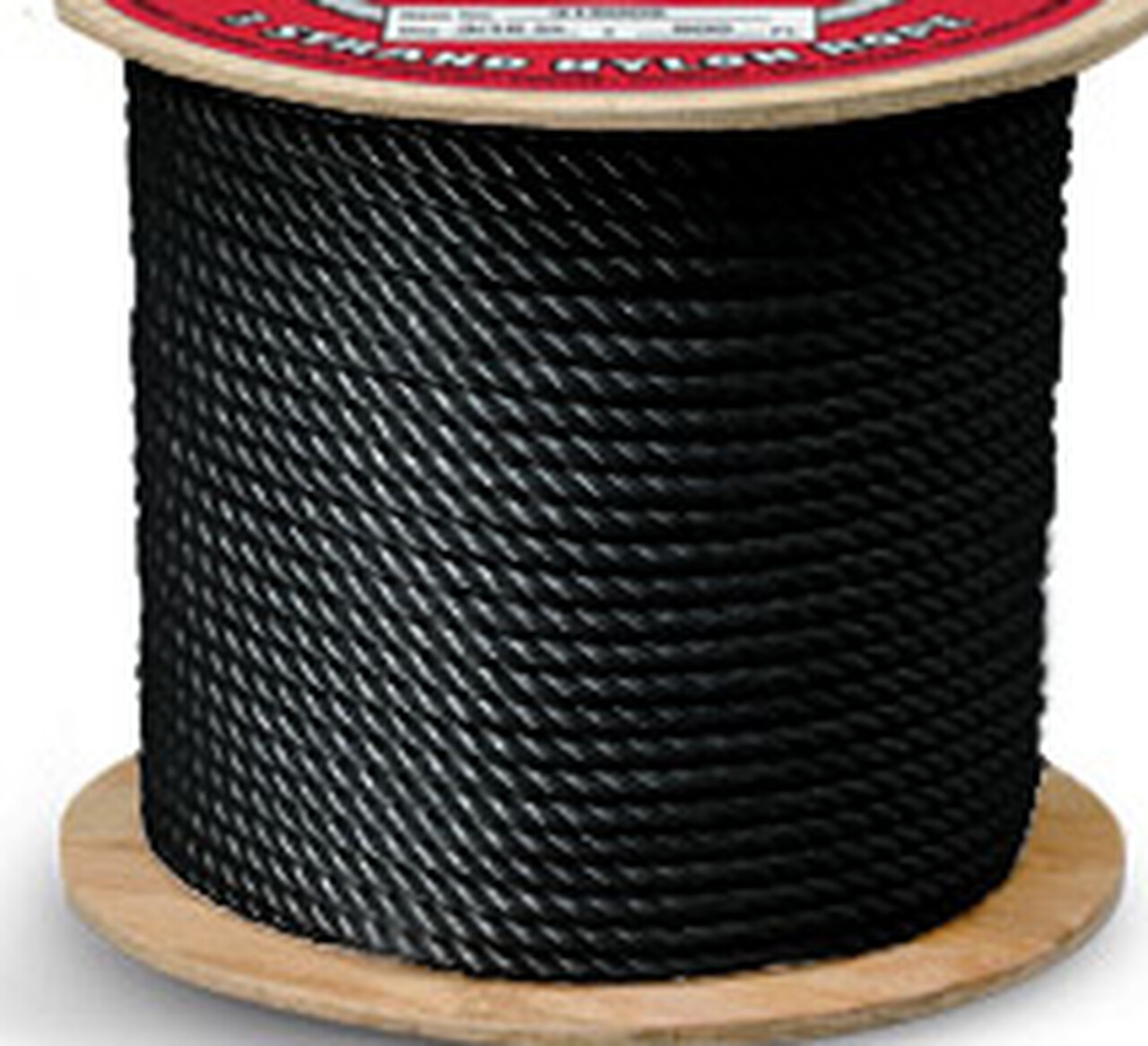 Nylon 3 Strand Rope Black - by the foot