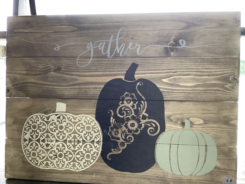 Gather Boho Pumpkins Plank Sign