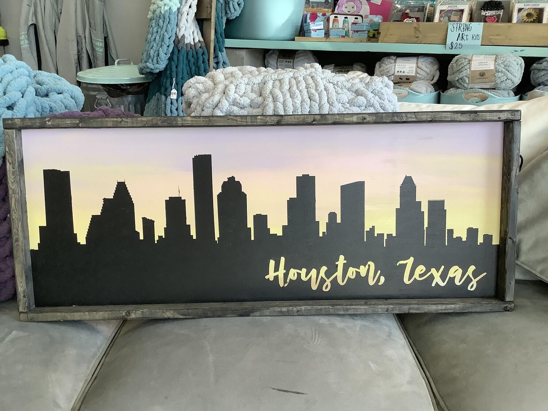 14x34 Framed Houston Skyline