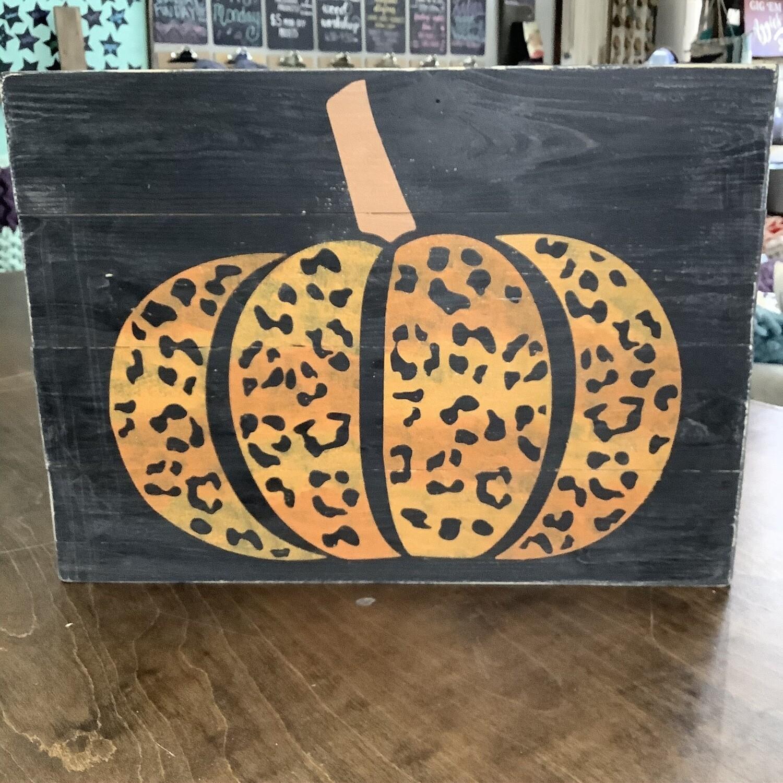14x19 Plank: Orange Shimmer Pumpkin