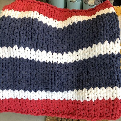 Chunky Knit Blanket: Red/White/Blue