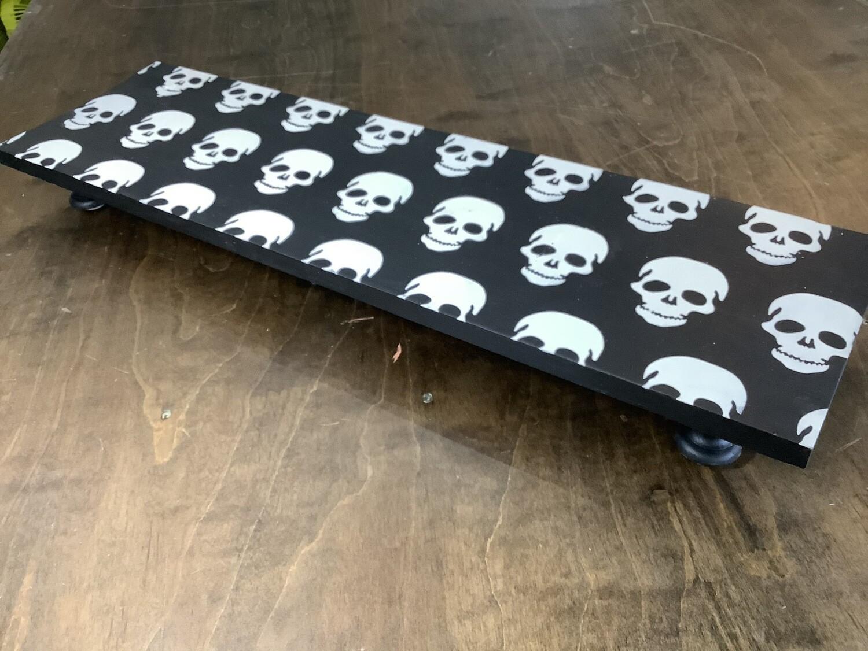 "32"" Pedestal Tray: Black with White Skulls"
