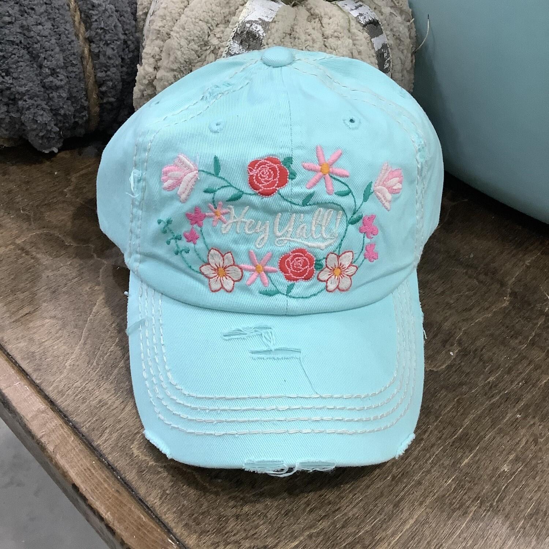 Aqua Hey Y'all Floral Cap