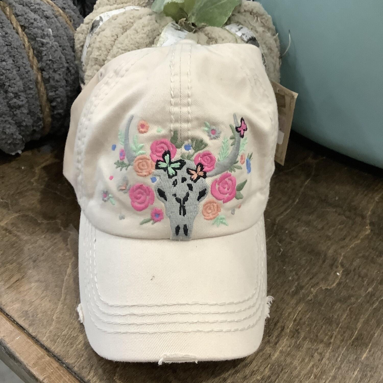 Tan Cow Skull Floral Cap