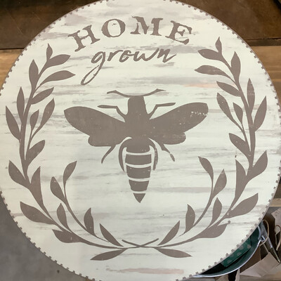 "Bee Home Grown 12"" Round Pedestal Tray"