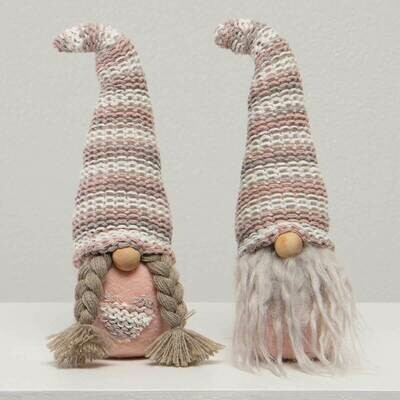 Pink Stripe Hat Gnome Couple, Sold Separately