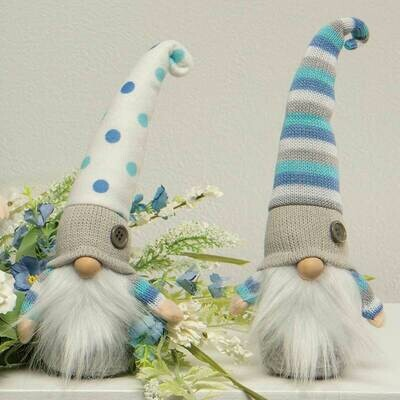 Blue & White Hat Gnomes, Sold Separately