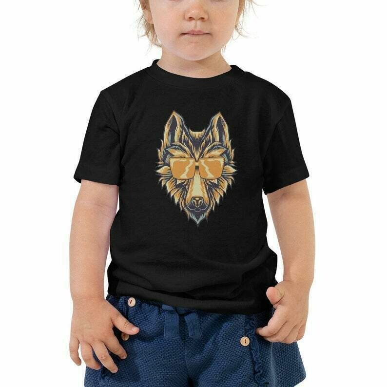 Wolf With Sunglasses Toddler Short Sleeve Tee | Cool Wolf Wearing Shades Tee For Kids