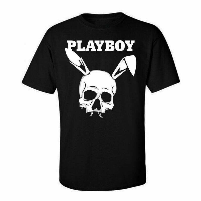 Playboy Classic Skull, Tees Graphic Funny Generic Novelty Unisex T-Shirt, Fashion High End dtg Printing Playboy Magazine