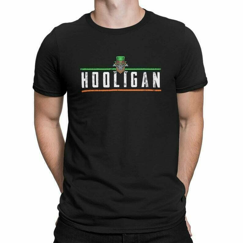 Hooligan Leprechaun Skull and Crossbones Saint St. Patrick's Paddy's Irish Colors T-Shirt Tee Shirt Mens Ladies Womens mad labs MLG-1346