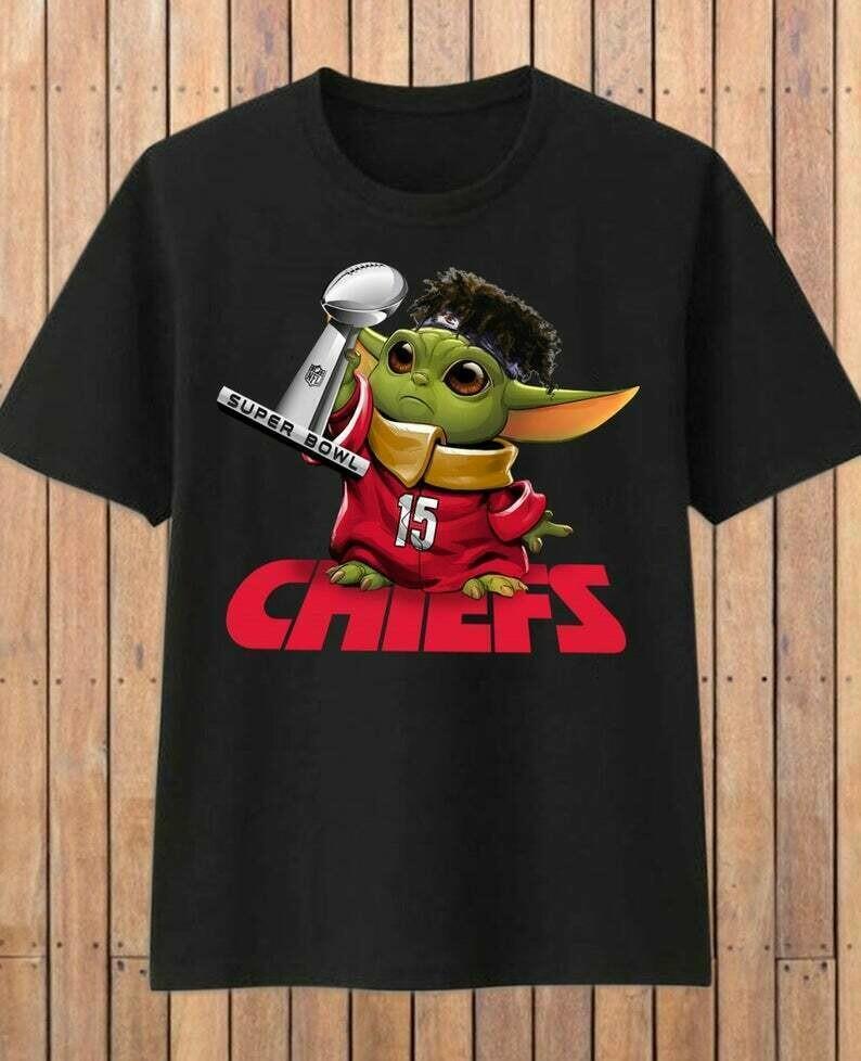Kansas City Chiefs Baby Yoda Star Wars Super Bowl 54 2020 LIV Champions February 2 2020 Football Team Dad Mon Kid Fan Gift T-Shirt