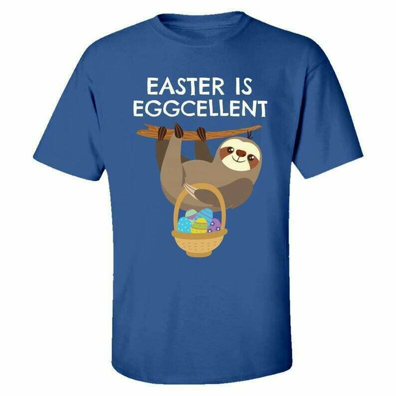 Kids Easter Sloth Design: Easter is EGGCELLENT - Youth T-shirt - For Boys and Girls - With a Basket of Easter Eggs