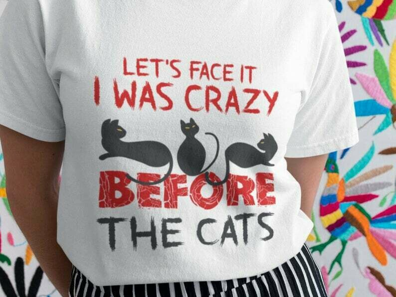 Let'S Face It I Was Crazy Before The Cats Shirt, Black Cat Shirt, Cat Lover Shirt, Funny Cat Shirt, Crazy Cat Lady Shirt, I Love My Cat