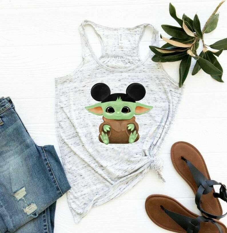 Baby yoda Mickey hat - Disney tank tops - Baby Yoda shirt - Disney shirts for women - womens Disney shirts