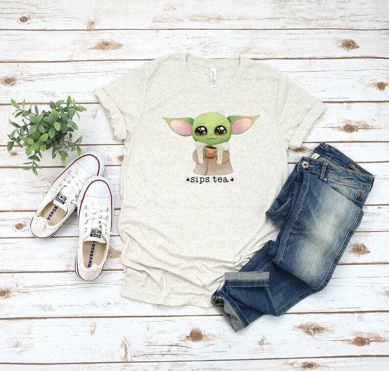 Disney shirts | Baby Yoda shirt | Sips Tea | Baby Yoda | Disney Family Shirts | baby Yoda Disney shirt | Disney shirts for women