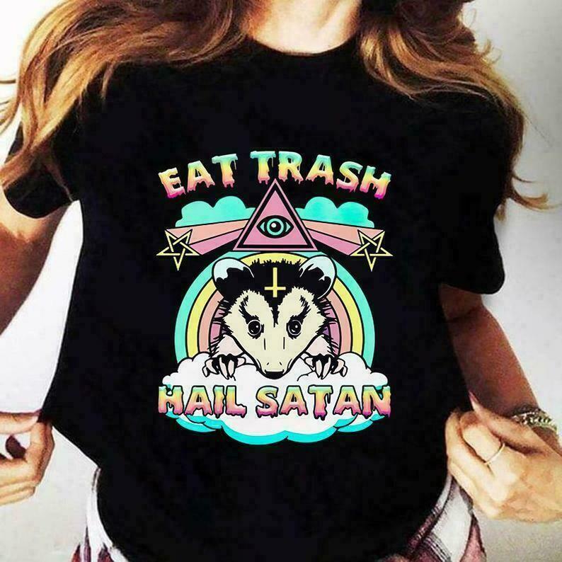 Eat trash hail satan Opossum shirt | Racoon Eat Trash Hail Satan shirt | Live fast eat trash Racoon shirt