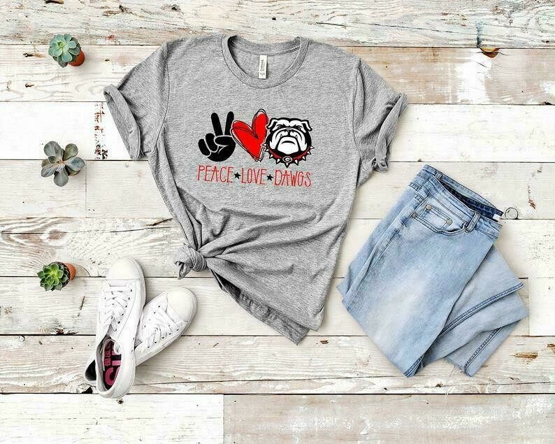 Peace Love Dawgs T-shirt, Football Shirt, Tailgate Shirt, Georgia Bulldogs Shirt, Georgia Football, Sports T-shirts