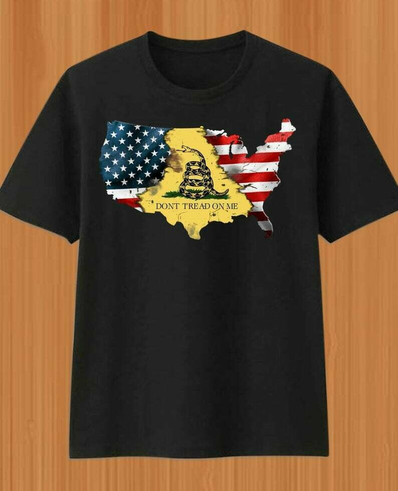 Don't Tread On Me Worn Gadsden American Flag Rattle Snake T-Shirt gift for man woman